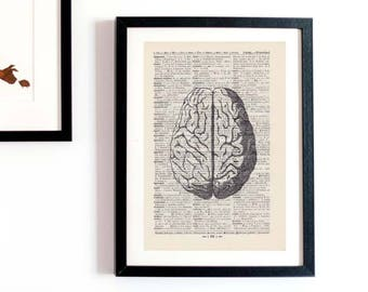 Print-the brain-on antique page