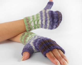 Fingerless Gloves Hand Warmers Wrist Warmers Lilac White Green Gloves Knitted Striped Gloves Gift for Woman Christmas Gift Multicolor Gloves