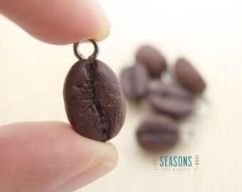 Coffee Bean Clay Charm - Jewelry Supply - Miniature Food - Food Jewelry - Planner Charm - Phone Charm - Stitch Marker