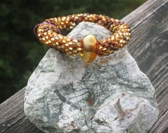 Maple Syrup bead crochet bracelet....FREE SHIPPING.....................
