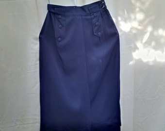 Vintage late 40's / early 50's navy blue gabardine high-waisted pencil skirt 24 inch waist