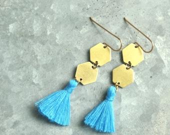 Tassel Earrings,Turquoise Blue Tassel Earrings, Geometric Dangle Earrings