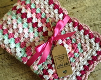 Girls Crochet Granny Square Baby Blanket - Shades of pink & mint - Great baby shower gift - Handmade with love...