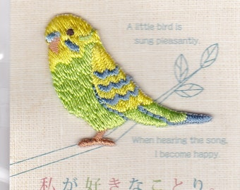 Budgie Budgerigar Parakeet Embroidered Iron-on Applique Iron-on Patch   Price depends on order volume.