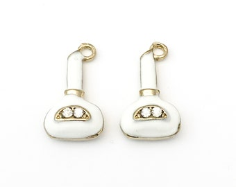 2 perfume bottle charms  gold tone and enamel,20mm  #CH 325
