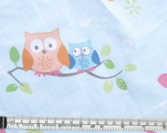 Fabric baby blue with orange blue Owls on trees Cotton Fabric Scandinavian Design Scandinavian Textile
