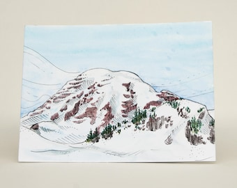 Mt. Rainier Snowshoe - Original Watercolor Painting