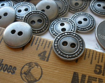 15MM Geometric Pattern Metal Shirt Buttons Antique pewter color 24L 12 each 2 hole sew on jewelry clasp silver