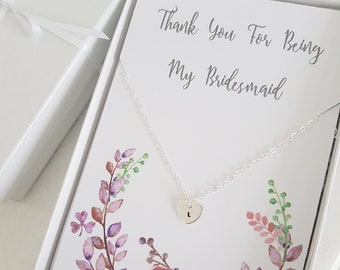 Bridesmaid heart necklace, thank you bridesmaid gift, personalised bridesmaid jewellery, initial necklace, bridal party, flower girl gift