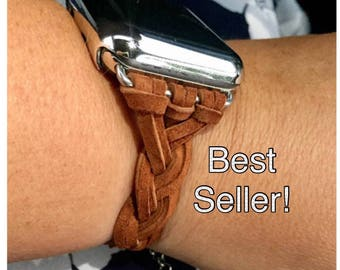 "Apple Watch Band 38mm 42mm Women Bracelet iWatch FREE Bracelet Helper! ""Braided Rustic Brown Ultra Suede Leather"" Adapters Case Womens 38 42"