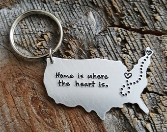 LARGE Home Keychain USA keychain State Keychain hand stamped gift long distance relationship gift LDR Gift Girlfriend Gift Going away gift