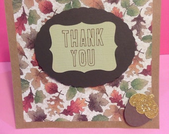 "Autumn Fall Leaves  5.5""Square Thank You Greeting Card - Blank Inside- Thanksgiving"