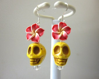Day Of The Dead Earrings Sugar Skull Jewelry Yellow Red White