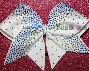 Lime Green and blue stones on your color - lots of bling by FunBows !
