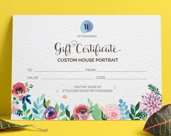 Custom House Portrait Gift Certificate - Watercolor Portrait Gift Certificate