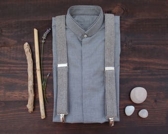 Grey Suspenders, Wedding Suspenders, Gift for him, Rustic Wedding Accessories, Mens Braces, Suspenders for Grooms Groomsmen