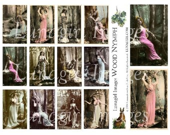 WOOD NYMPH digital collage sheet vintage photos woman vintage images Victorian nature goddess woodland animals altered art ephemera DOWNLOAD