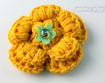 CROCHET FLOWER BROOCH-Yellow flower-Handmade flower-3d flower-Large Flower-Unique crochet gift for women-Hand crocheted brooch-Big flower
