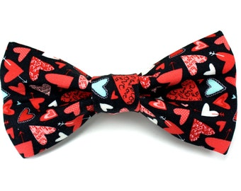 Sweethearts in Black Valentine's Day Removable Dog Bow Tie / Made to Order