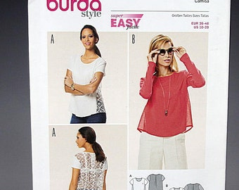 Burda 6631, Super Easy Top, Sewing Pattern, DIY, Lace, Sheer, Long or Short Sleeve, Sizes 10, 12, 14, 16, 18, 20, Plus Size, High Fashion