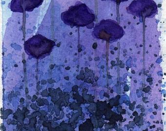 Watercolor Painting: Watercolor Flower Painting -- Mini Art Print -- Grape-a-Licious Flowers -- Purple -- ACEO Print