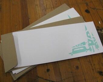 Letterpress Tree Car Flat Notes (set of 5)