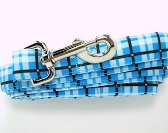 Blue Plaid Dog  Leash