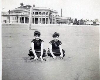 vintage photo 1909 Bathing Beauties on Beach Pavillion California