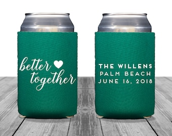Neoprene Can Coolers, Personalized Coolies, Wedding Coolies, Engagement Party, Custom Hugger Wedding Can Coolers, Better Together, 1236