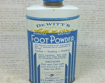 DEWITT'S POWDER TIN, Borated, Sanitary Foot Medicine, 3 oz., Vintage Pharmaceutical, Medical, Bathroom Collectible