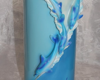 PLASTIC  Container with 4 Dolphins