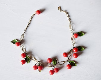 Vintage Cherry and Leaves Statement Necklace