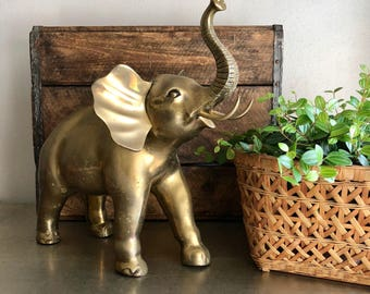 vintage large brass elephant figurine 14.5in tall