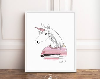Unicorn, Instant Download, printable poster, Scandinavian art, nursery art, unicorn art, hipster art, animals in clothes, girls room