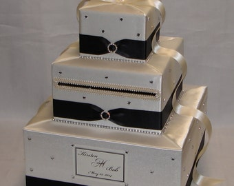 Elegant Custom made Wedding Card Box- IVORY-BLACK design- can be made in any color