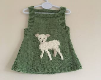 Lamb Pinafore dress, 0-3 months, hand knitted.