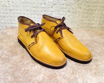 Handcrafted Leather Desert Boot in Yellow