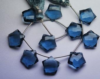 5 Matched pairs,LONDON BLUE Quartz Faceted Star Shape Briolette,Size12mm Approx