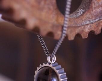 Smoky Cog-Cosmic Jewelry-Smoky Quartz-Sterling Silver ring-Gal Barash-Space-long moving magical Pendant-MJ