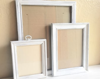 Farmhouse Style Shabby Chic White Painted Wooden Picture Frame Set Wood Distressed Three 3 Trio