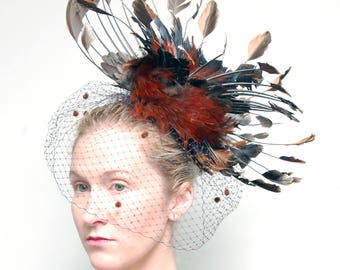 Derby Style Rooster Wing Couture Taxidermy Fascinator w/Antique Swiss Dot Veiling