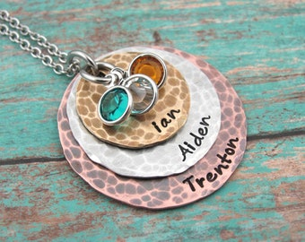 Personalized Hand Stamped Necklace Rustic Jewelry Hand Stamped Jewelry Custom Jewelry Mom Necklace Personalized Jewelry Handstamped Necklace