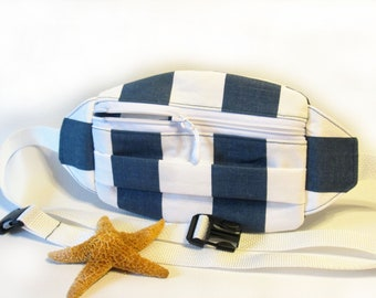 Navy Blue and White Hip Bag  Stripe Fanny Pack Street Style  Fanny Pack Women  Fashion Hip Bag Travel  Custom Fanny Pack  Summer Style