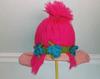 Crochet Troll Hat - Princess Poppy - Cartoon Costume Hat - Trolls - Silly and Chunky Crochet Hat