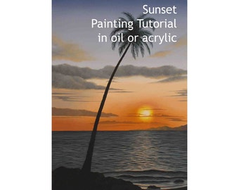 Sunset painting tutorial in oil or acrylic, how to a paint a tropical beach sunset, painting instructions for the sun setting over the sea