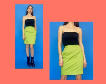 Vintage 90s 80s Lime Green High Waisted Pencil Skirt