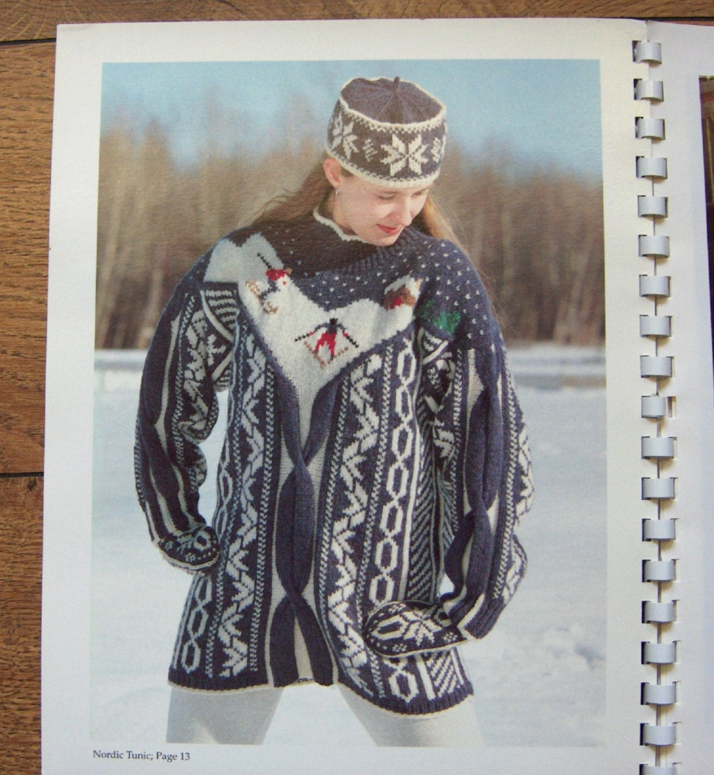 vintage 1994 knitting patterns One More Row nordic/horse/birds ...