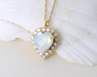 Swarovski Opal Heart Necklace. White Opal and Rose Water Opal. Bridesmaid Gift. Simple Modern Jewelry by Smallbluethings
