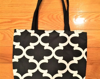 Black Fabric Handbag,  Black and White tote bag, gift for her, shoulder bag, fabric tote bag for women, Valentines Day Gift