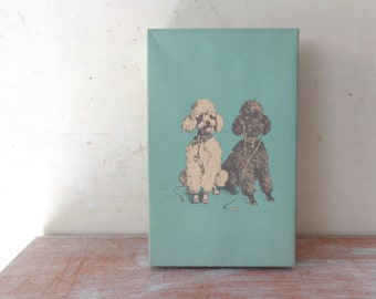 Blue Box covered with Mabel Gear print of Poodles